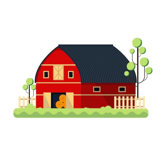 Cultivando o celeiro liso para armazenar o feno - ilustração. árvore de cerca de rancho vermelho Vetor Premium