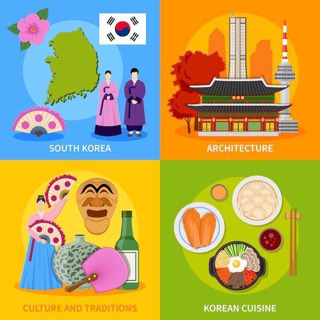 Cultura coréia, 4, apartamento, ícones, quadrado Vetor grátis