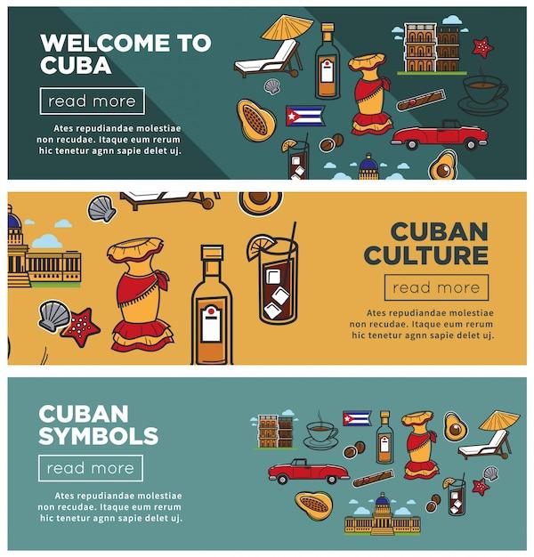 Cultura cubana e símbolos promocionais banners de internet definida Vetor Premium