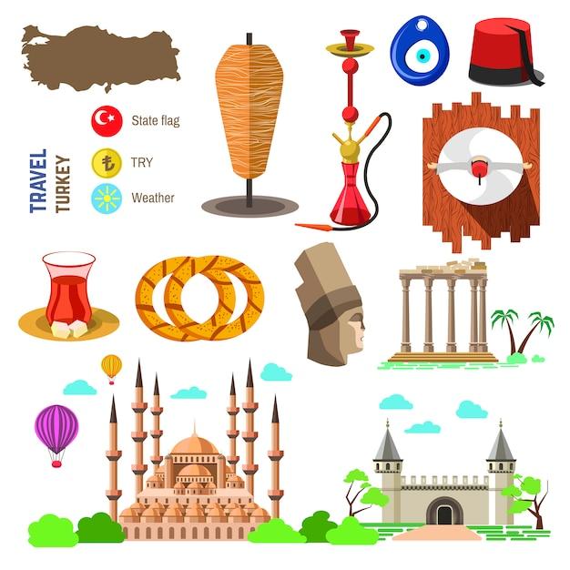 Cultura da turquia e símbolos tradicionais. Vetor Premium