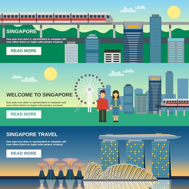 Cultura de cingapura 3 conjunto de banners plana Vetor grátis