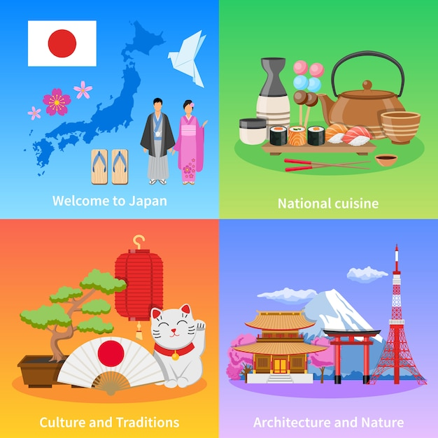 Cultura do japão 4 ícones lisos quadrados Vetor grátis