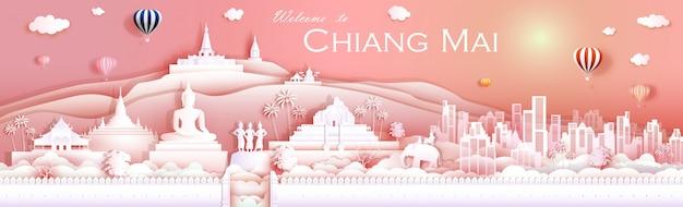 Cultura do marco do curso chiangmai tailândia com templo Vetor Premium
