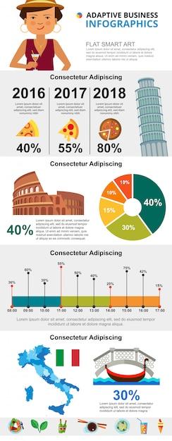 Cultura italiana e conjunto de gráficos infográfico de marketing Vetor grátis