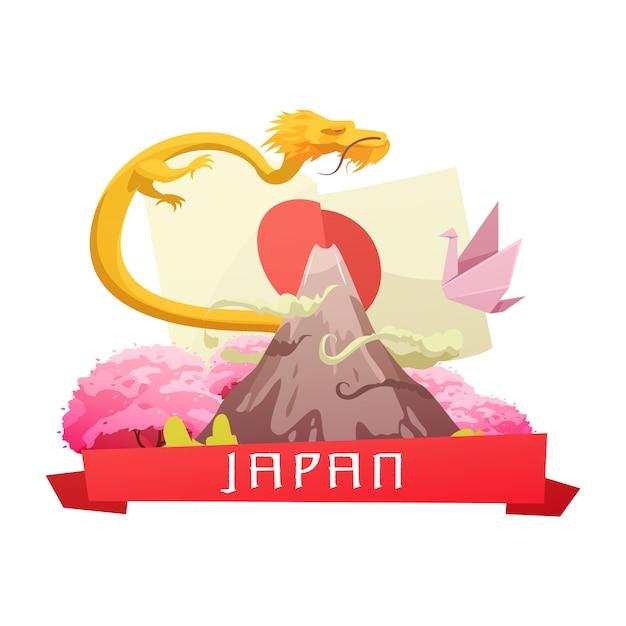 Cultura japonesa e composição de retrô dos símbolos nacionais dos desenhos animados com bandeira flor de cerejeira e fuji ilustração vetorial de montanha Vetor grátis