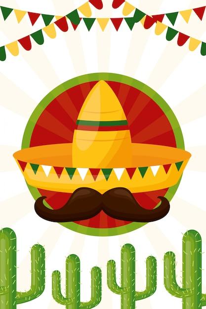 Cultura mexicana de chapéu e cacto, ilustração Vetor grátis
