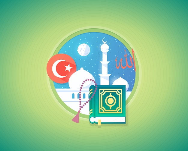 Cultura muçulmana árabe e ilustração do conceito de linguagem. estilo moderno. Vetor Premium