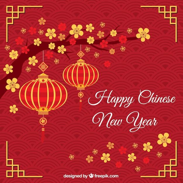 Cumprimento vermelho com novas lanternas chinesas ano Vetor grátis