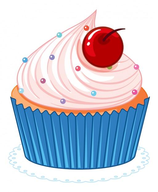 Cupcake bonito dos desenhos animados-de-rosa Vetor grátis