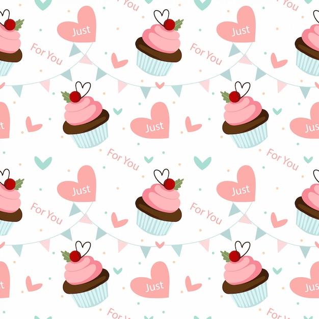 Cupcake de chocolate e dia dos namorados elementos sem costura padrão Vetor Premium