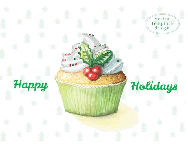 Cupcake de doçura de bolo aquarela para o ano novo e feliz natal Vetor Premium