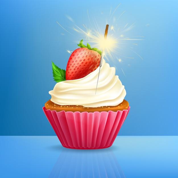 Cupcake de férias com despedida de fogo 3d Vetor grátis