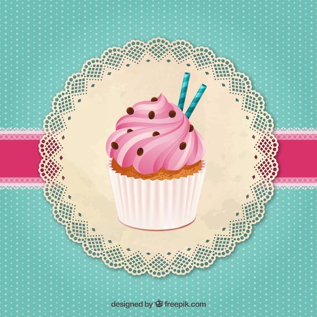 Cupcake delicioso Vetor grátis