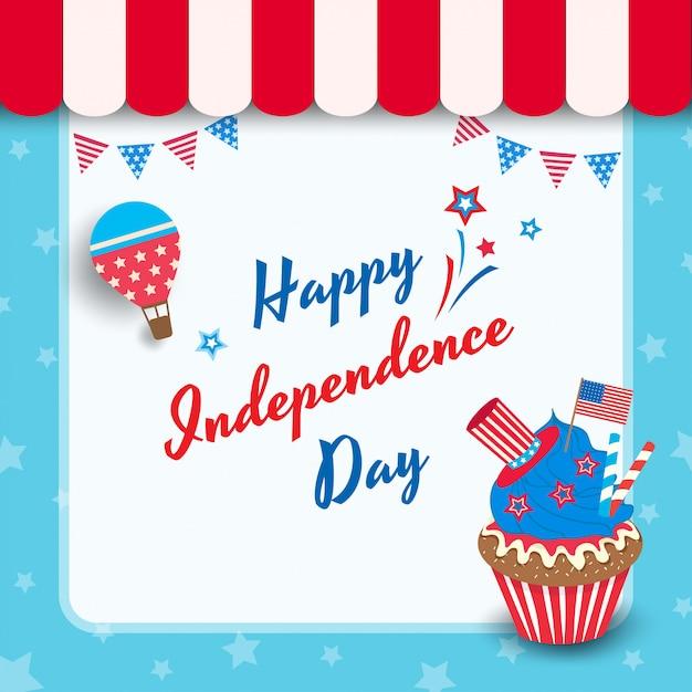 Cupcake do dia da independência Vetor Premium