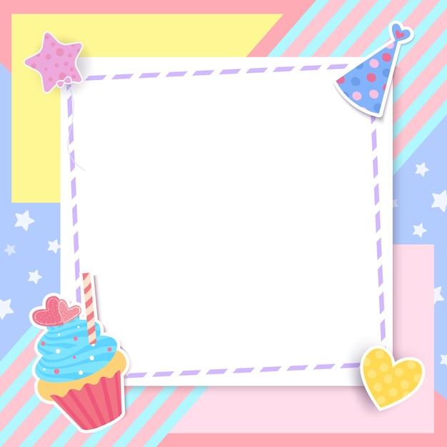 Cupcake fofo com moldura em pastel. Vetor Premium