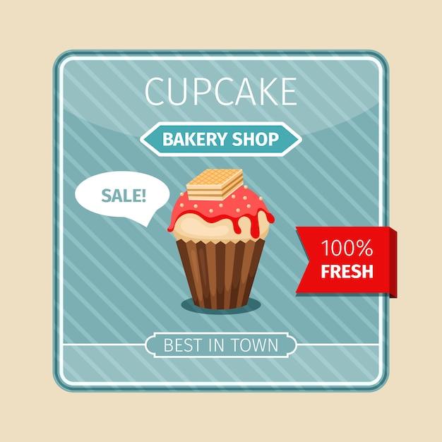 Cupcake vermelho cartão fofo com bolacha Vetor Premium
