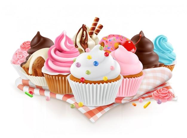 Cupcake vetor 3d isolado Vetor Premium