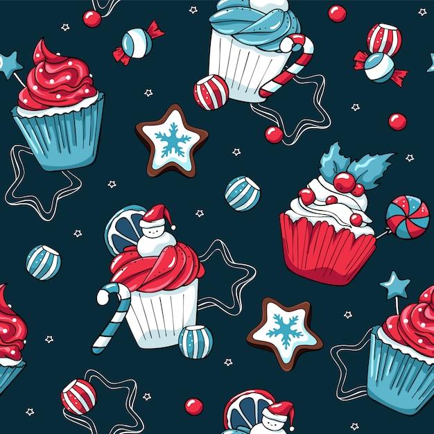 Cupcakes de natal e doces vector sem costura padrão Vetor Premium