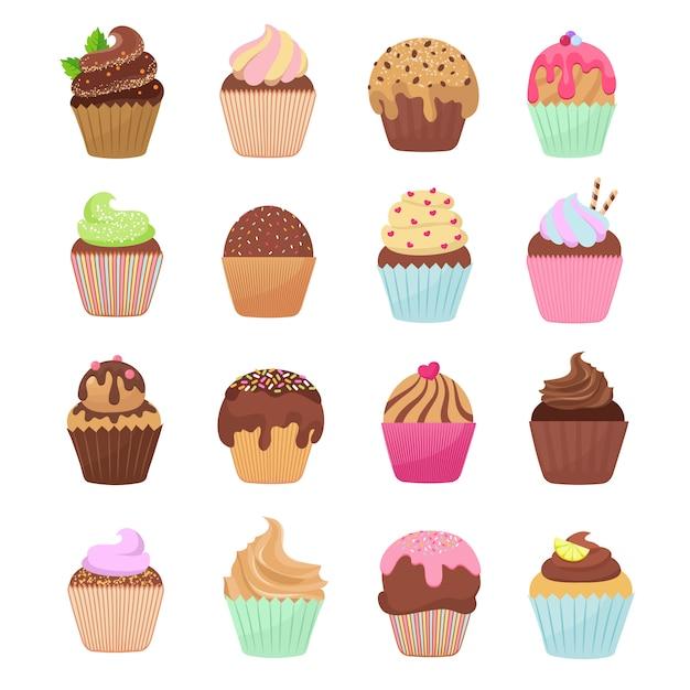 Cupcakes deliciosos e muffins vector conjunto de desenhos animados Vetor Premium