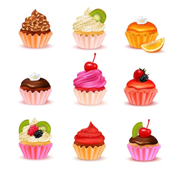 Cupcakes realistas brilhantes com vários conjunto de sortimento de enchimentos isolado na ilustração vetorial de fundo branco Vetor grátis