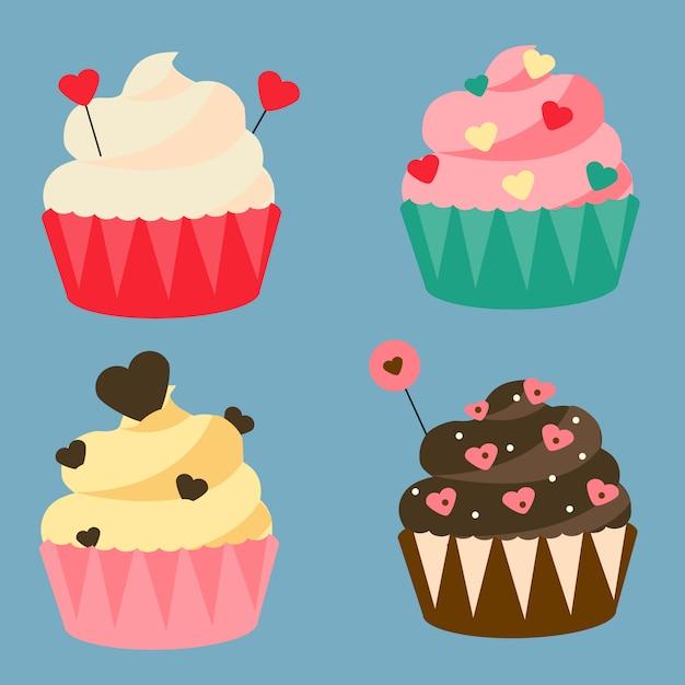 Cupcakes românticos. Vetor Premium