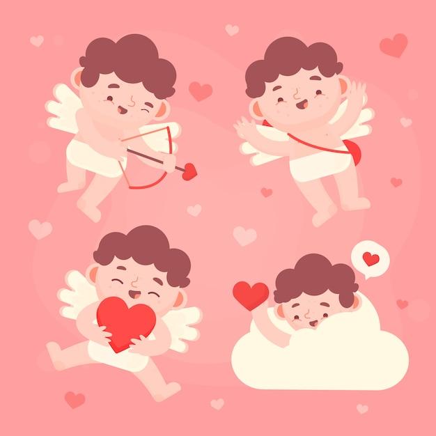 Cupido com asas, escondendo-se em uma nuvem Vetor grátis