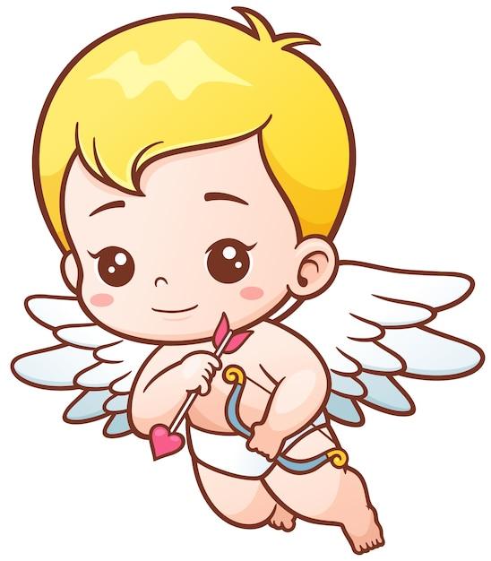 Cupido com flechas e cebola Vetor Premium