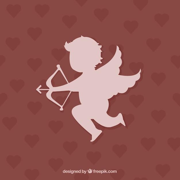 Cupido silhueta no fundo dos corações Vetor grátis