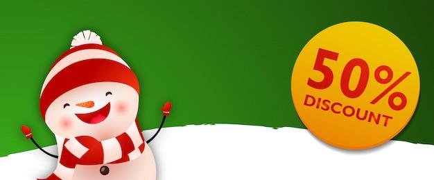 Cupom de desconto com boneco de neve engraçado dos desenhos animados Vetor grátis