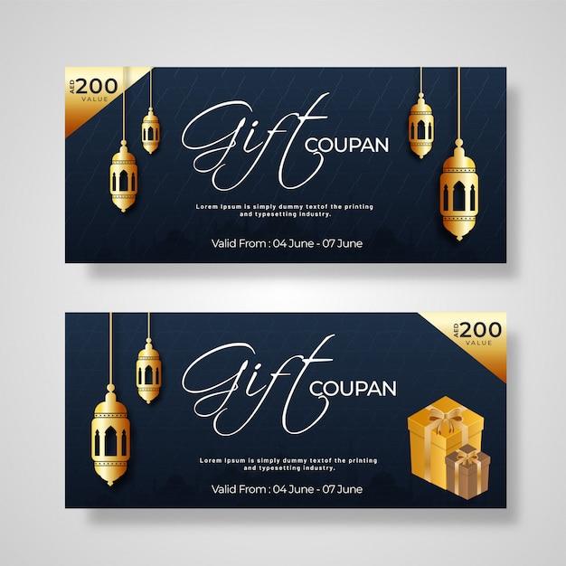 Cupom de presente ou coleção de layout de voucher com caixas de presente, lanter Vetor Premium