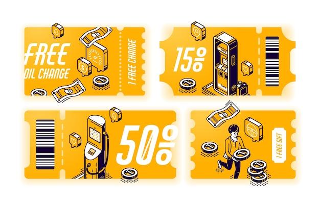 Cupons amarelos para troca gratuita de óleo, vouchers com brinde ou desconto no serviço do carro. conjunto de certificados com ilustração isométrica de posto de gasolina. bilhetes com oferta de manutenção de veículos Vetor grátis