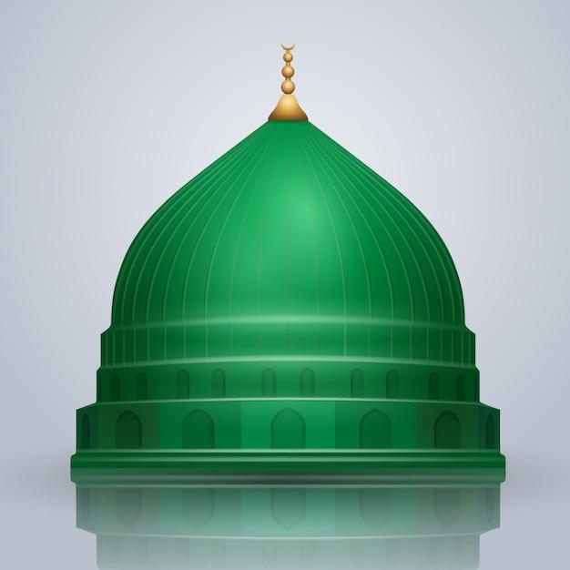 Cúpula de vetor verde islâmica realista da mesquita do profeta Vetor Premium