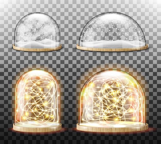 Cúpula de vidro com neve realista Vetor grátis