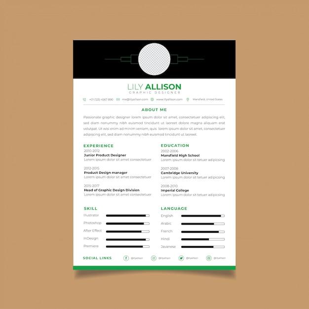 Currículo modelo de design minimalista cv Vetor Premium