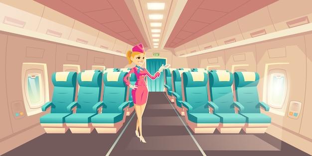 Curso da linha aérea com vetor dos desenhos animados do conforto. feliz, sorrindo, aeromoça, aeromoça, em, elegante, un Vetor grátis