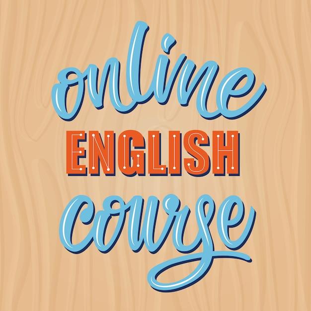 Curso de inglês on-line, rotulação banner design. Vetor Premium