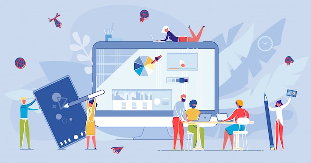 Curso e educação on-line à distância na internet. Vetor Premium