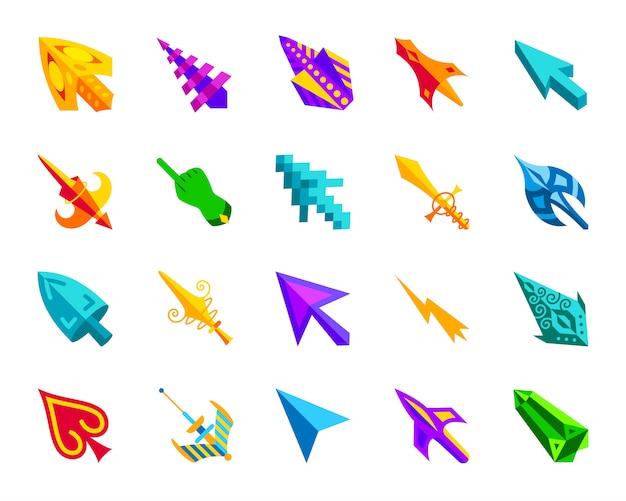 Cursor do mouse, clique em conjunto de ícones plana de seta, sinal de ponteiro colorido dos desenhos animados para jogos. Vetor Premium
