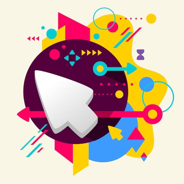Cursor no abstrato colorido fundo manchado com diferentes elementos Vetor Premium