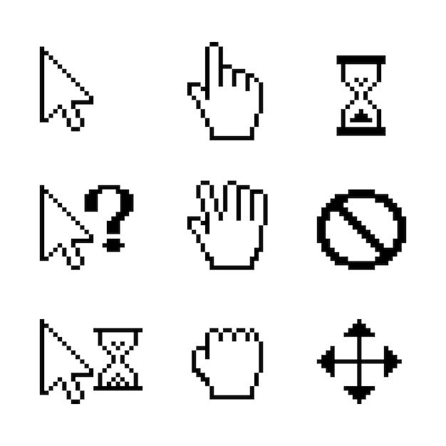 Cursores do mouse de pixel do vetor sobre o branco: ponteiro de seta para arrastar com a mão Vetor grátis