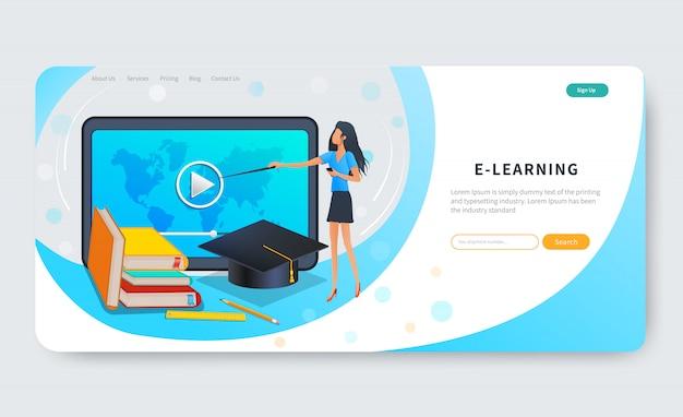 Cursos de educação on-line, ensino a distância ou webinar. professor ou tutor ensina grupo de estudantes Vetor Premium