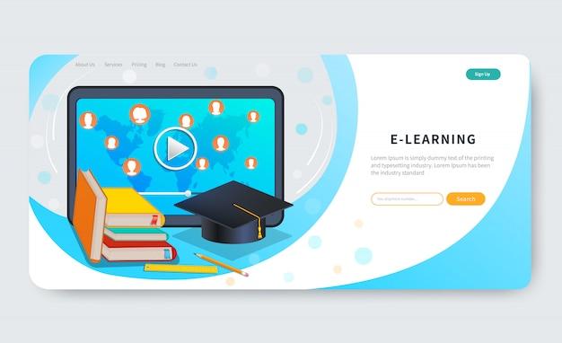 Cursos de educação on-line, ensino a distância, webinar, tutoriais. plataforma de e-learning. modelo de design de página da web Vetor Premium
