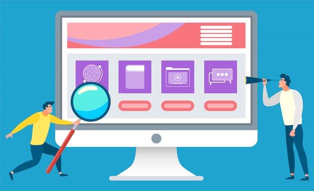 Cursos de educação on-line para estudantes de negócios Vetor Premium