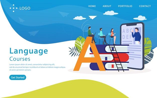 Cursos de línguas landing page, modelo de site, fácil de editar e personalizar, ilustração vetorial Vetor Premium