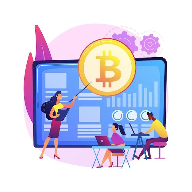 Cursos de negociação de criptomoeda ilustração do conceito abstrato. crypto trade academy, contratos inteligentes, tokens digitais e tecnologia de blockchain, configuração e estratégia, ico. Vetor grátis