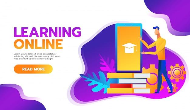 Cursos de treinamento on-line illustration.distance learning business Vetor Premium