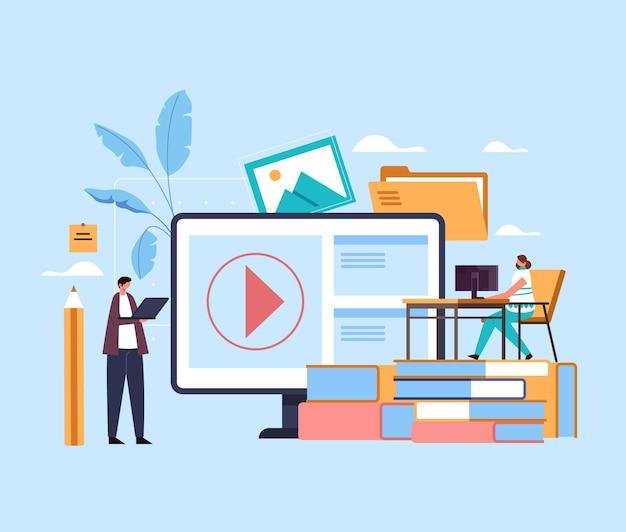 Cursos de tutorial de aulas de educação de internet online web estudando o conceito. Vetor Premium