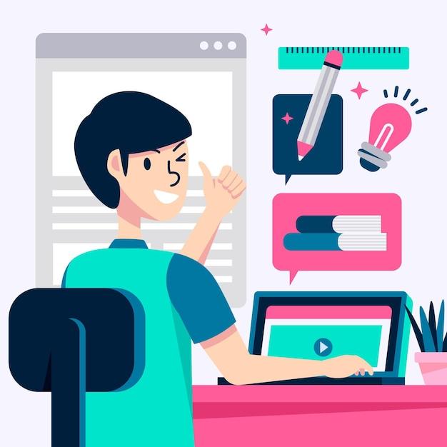Cursos e tutoriais on-line Vetor Premium