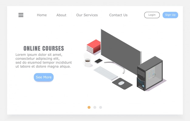 Cursos on-line da landing page, conceito de ensino a distância Vetor Premium