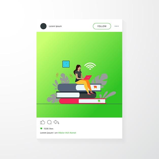 Cursos online e conceito de aluno. mulher sentada na pilha de livro e usando o laptop para estudar na internet. ilustração em vetor plana para ensino à distância, conhecimento, tópicos escolares Vetor grátis